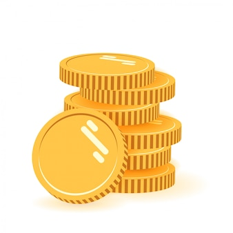 Стопка монет с монеты перед ним. значок плоский, куча монет, деньги монеты, одна золотая монета стоя на сложены золотые монеты современного дизайна на белом фоне.
