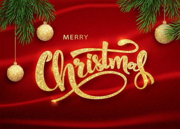 クリスマステンプレート。書道のメリークリスマスレタリングが飾られています。クリスマスポスターテンプレート。