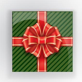 赤い弓の上面と緑のギフトボックス。