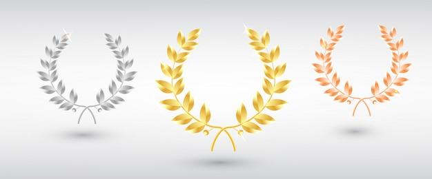Награда лаврового сета - первое, второе и третье место. шаблон победителя.
