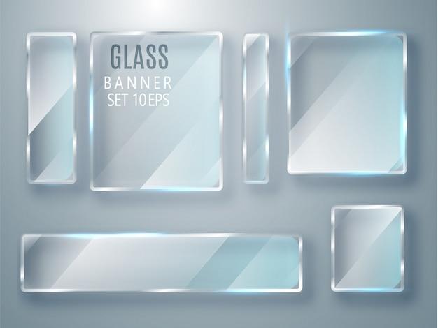 Набор стеклянных прозрачных баннеров. плоское стекло.