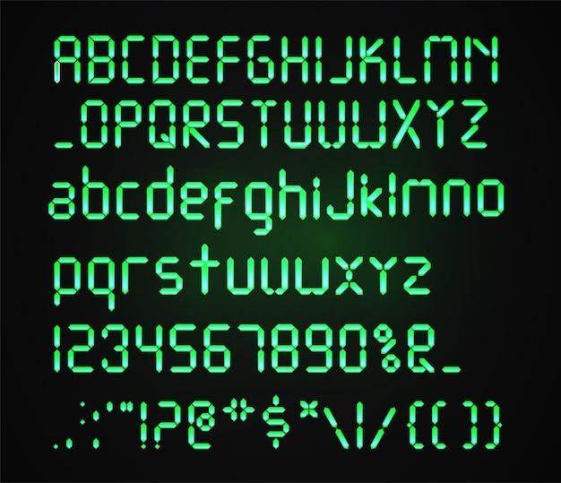 暗い背景に分離されたデジタルグリーンフォント。熱烈な現実的なデジタルアルファベット。目覚まし時計の手紙。デジタル時計やその他の電子機器用に設定された数字と文字。