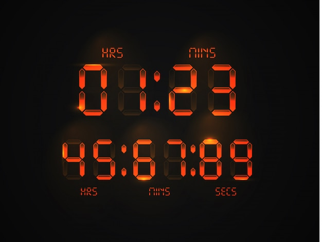 リアルなデジタル時計。電卓のデジタル番号。目覚まし時計の手紙。
