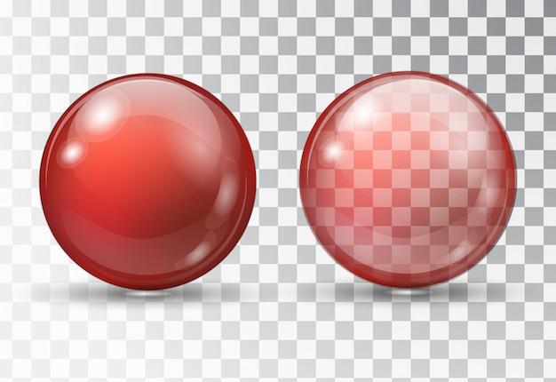 透明な赤いボール。