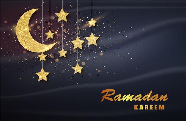 Рамадан карим. золотая луна и роскошные исламские элементы фона