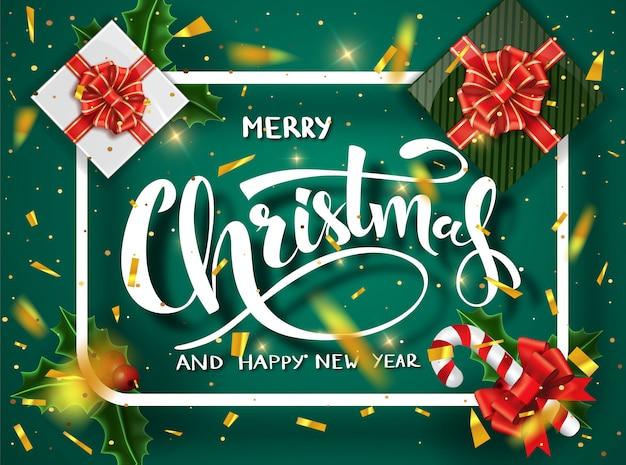 緑のクリスマステンプレート。書道のメリークリスマスレタリングが飾られています。クリスマスポスターテンプレート。