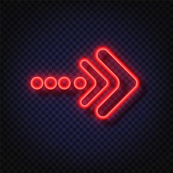 Неоновая стрелка знак. светящиеся неоновые стрелки указателя изолированы. реалистичные светящиеся яркие неоновые стрелки. сияющий и светящийся неоновый эффект.