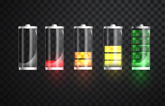 Зарядка батареи. индикатор состояния зарядки аккумулятора. стекло реалистичные иллюстрации батареи питания. полная зарядка, полная разрядка. статус зарядки. вектор