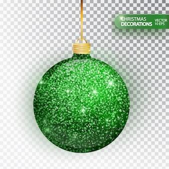 クリスマス安物の宝石緑キラキラは、白で隔離。輝くキラキラテクスチャバル、休日の装飾。クリスマスの飾り付け。緑のハンギング安物の宝石。