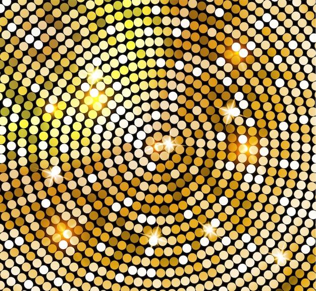 ディスコボールスタイルの黄金の光沢のあるモザイク。ゴールドのディスコライトの背景。抽象的な背景