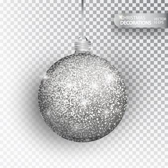 クリスマス安物の宝石シルバーラメは、白で隔離。輝くキラキラテクスチャバル、休日の装飾。クリスマスの飾り付け。シルバーハンギング安物の宝石。