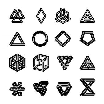 不可能図形のセット。錯視。神聖な幾何学。