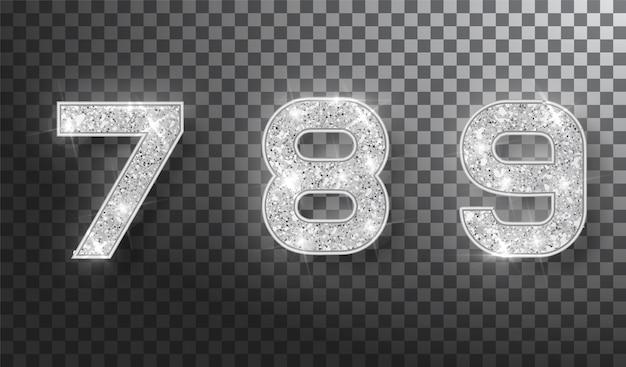 シルバーの輝く数字