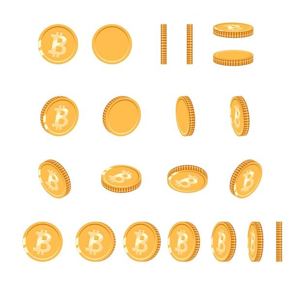 アニメーション用にさまざまな角度でビットコインゴールドコイン。ベクトルビットコインセット。金融お金通貨ビットコインの図。デジタル通貨