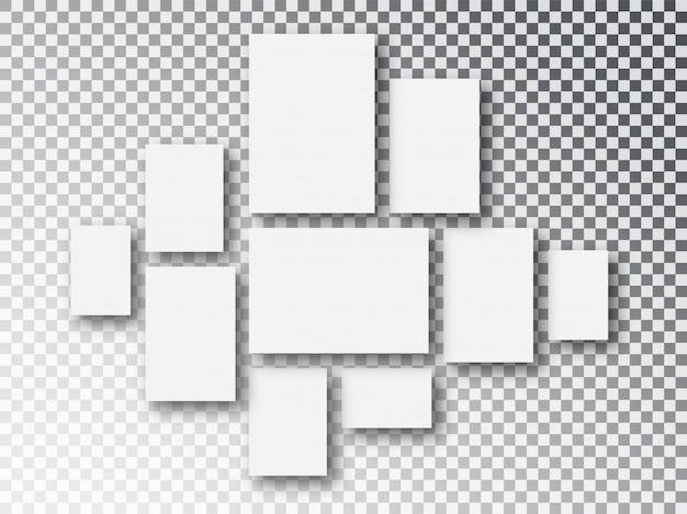 空白の白い紙のキャンバスまたはフォトフレーム