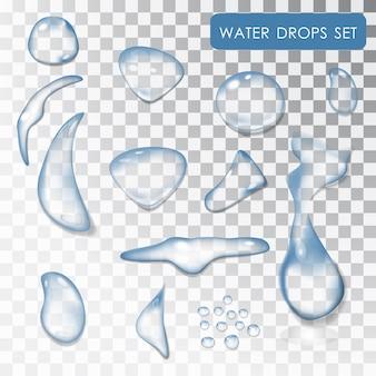 水滴のセット。透明な個々の水滴。水。水滴、液体。 。純水。ウェット効果。孤立したオブジェクト。