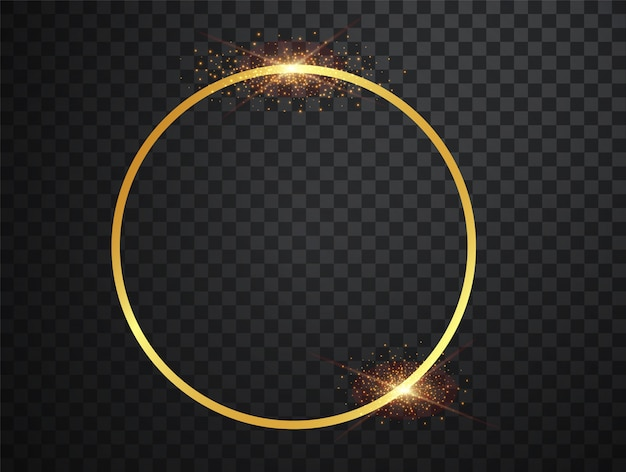 Круглая золотая рамка с золотыми световыми эффектами.