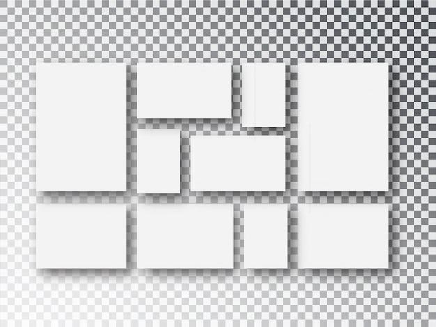 透明に分離された空白のホワイトペーパーキャンバスまたはフォトフレーム