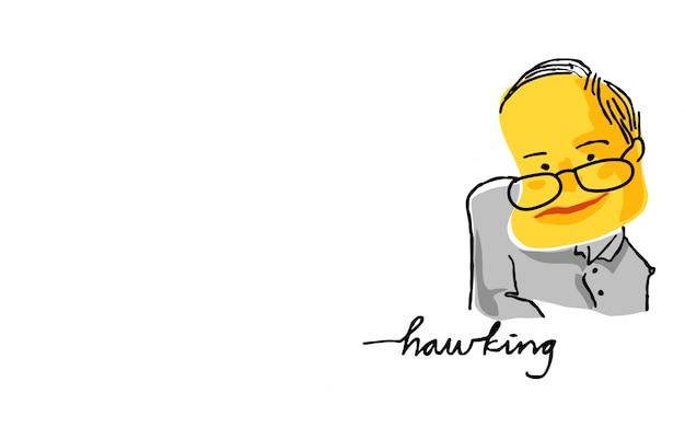 黄色と黒のスケッチでスティーブンホーキング