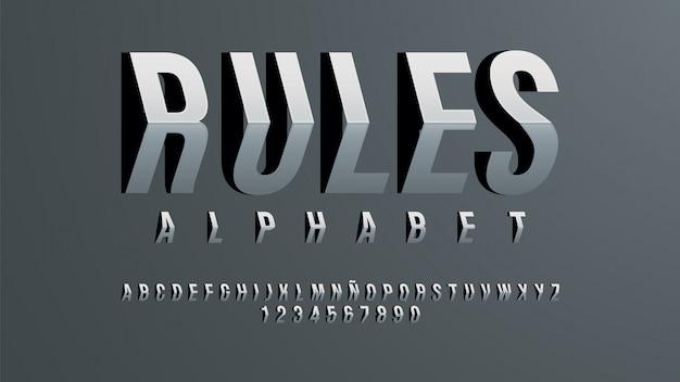 次元効果を持つ未来的なアルファベット