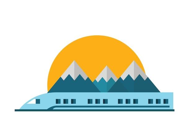 鉄道、山岳風景のある鉄道。ベクトルフラットイラスト。