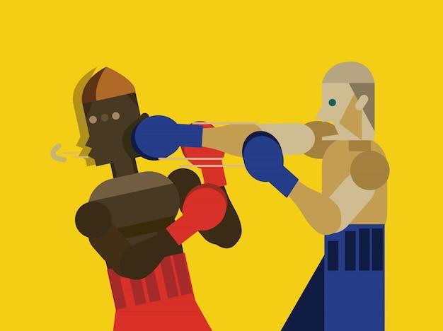 Два кавказских мужчины осуществляют тайский бокс. плоский характер дизайн. векторные иллюстрации