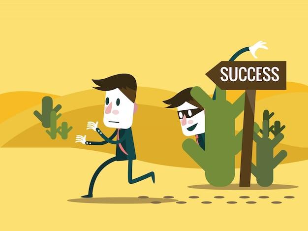Зависть бизнесмена изменить дорожный знак на неправильный путь