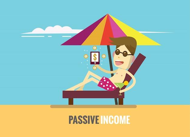 男はビーチとスマートフォンに表示されている収入のお金に横たわっています。受動的収入の概念。フラットデザイン要素。ベクトルイラスト