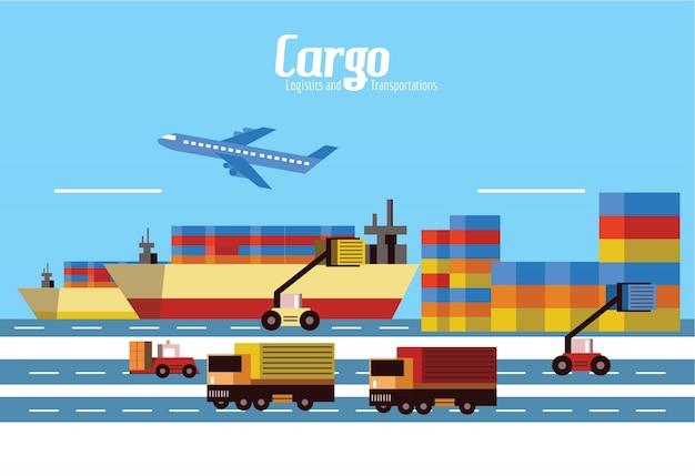 貨物、物流および輸送。フラットデザイン要素。ベクトルイラスト