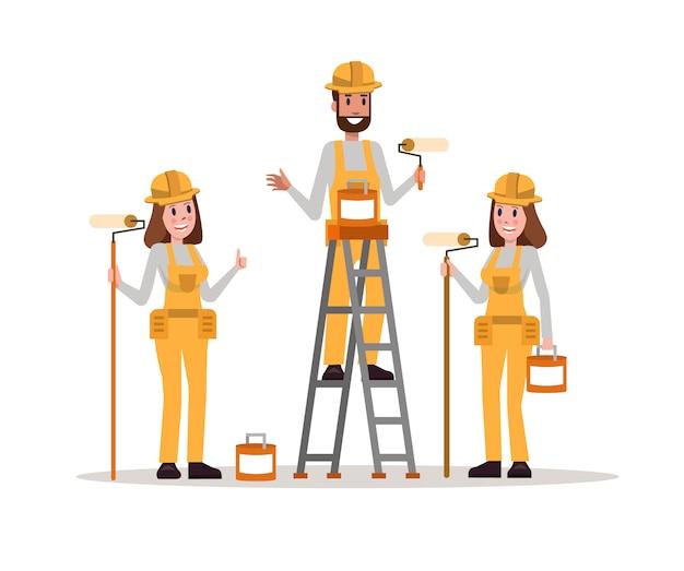 建設画家チームのセット