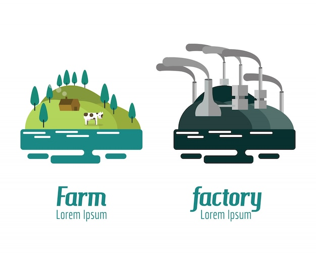 農場と工場の風景。フラットデザイン要素。ベクトルイラスト