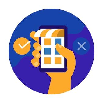 手持ちの携帯電話とショッピングのプロセスを確認します。