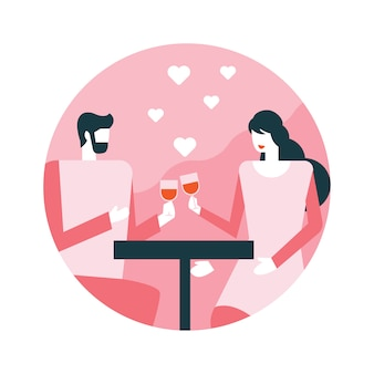 赤ワインのグラスと若いカップル