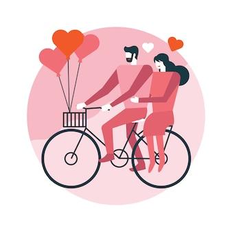 Счастливая пара катается на велосипеде вместе