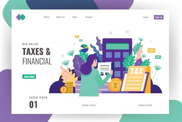 税金と財務のランディングページのテンプレート。