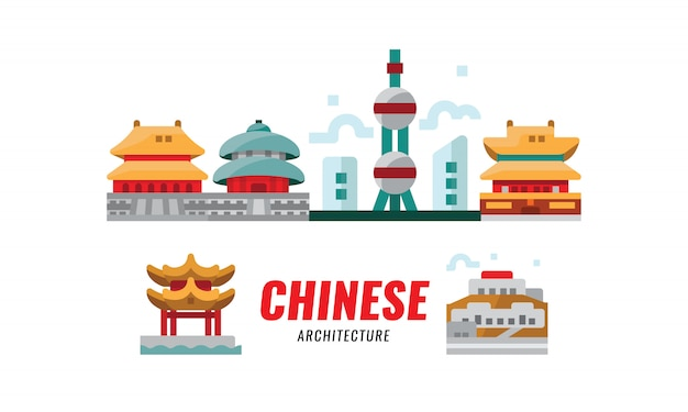 Китайское путешествие. китайская традиционная архитектура, строительство и культура. векторная иллюстрация