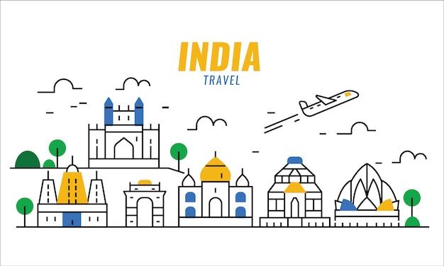 インド旅行シーン。細い線のポスターとバナーの要素。