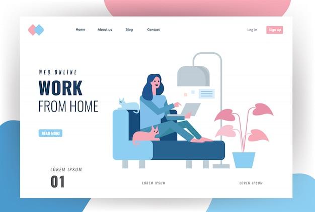 Целевая страница сайта. счастливая женщина сидит на диване и работает с ноутбуком. домашний карантин концепция дизайна. иллюстрация