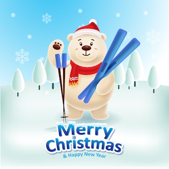 Счастливый белый медведь с красной кепкой и красным шарфом играет на лыжах