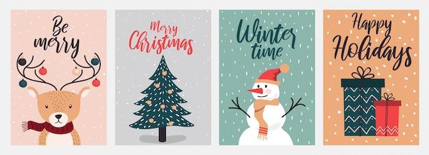 メリークリスマスと暖かい願いグリーティングカードデザイン