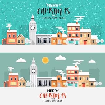 Плоский баннер праздник рождественская открытка
