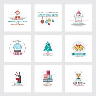 Плоская линия рождественская открытка