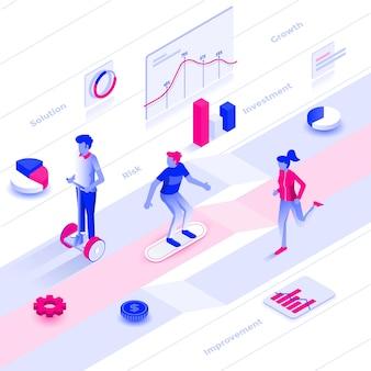 Плоский цвет современный изометрические иллюстрация рост бизнеса