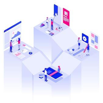 Плоский цвет современная изометрическая иллюстрация веб и разработка