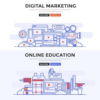 フラットバナーデジタルマーケティングとオンライン教育