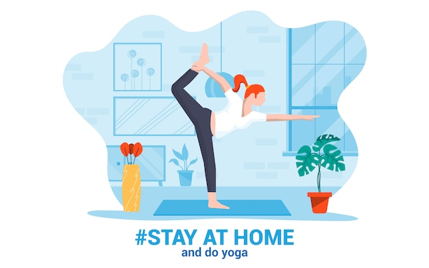 家での滞在のモダンなデザインのイラスト