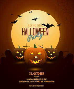 Шаблон плаката ночи хэллоуина
