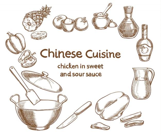 甘くて酸っぱいソースのレシピデザインのチキン