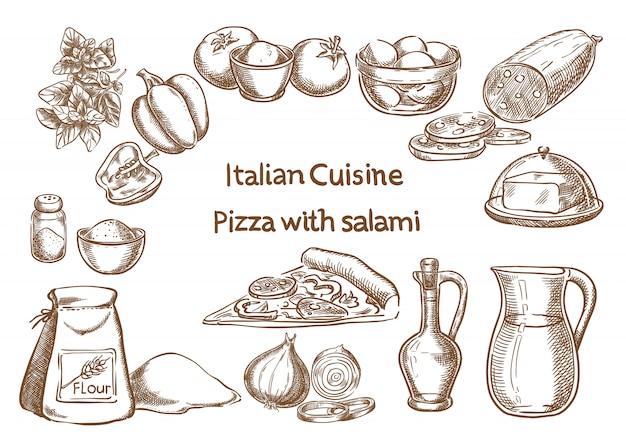 サラミ素材のピザ