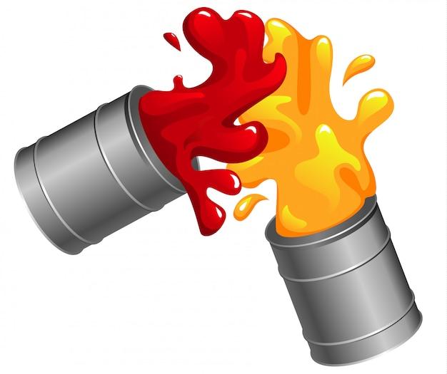 赤と黄色のペンの缶